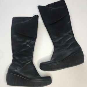 Clarks Wedge Black Leather Boots
